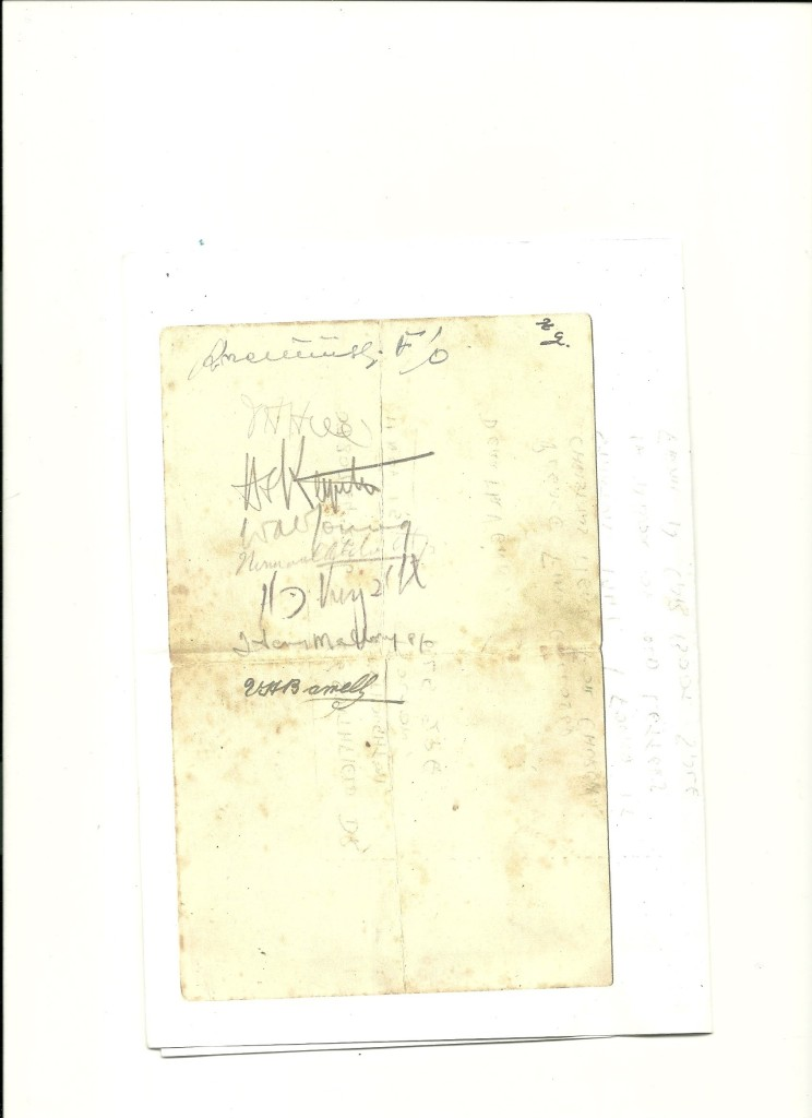 Signatures of RAF personal on reverse of Church Stanton 1941 Christmas menu